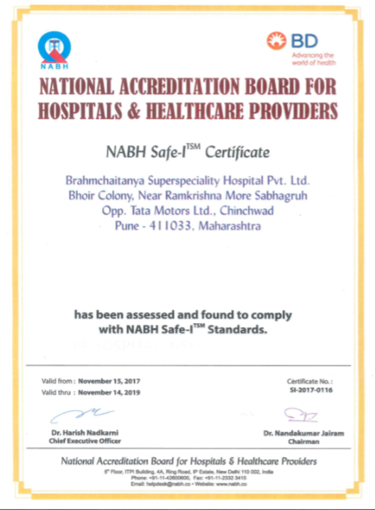 SAFE-I Certificate from NABH